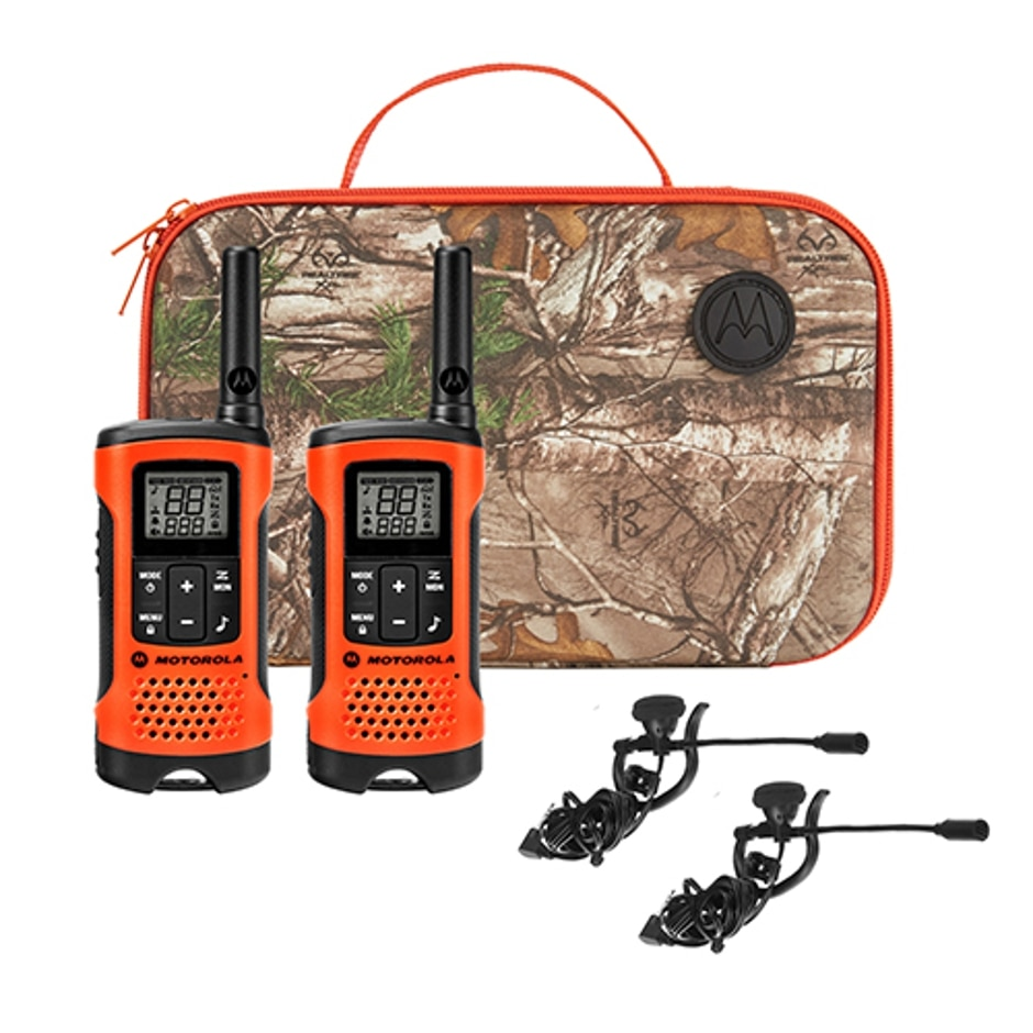 The TALKABOUT T265 provides features and accessories designed specifically for hunters. Just press the push-to-talk button to easily connect to your fellow hunters and campers in the forest, around the campground and even by the lake. With a Realtree Xtra camo carry case, this two-way radio will let you fully enjoy your wilderness adventure; it offers up to a 25-mile range, emergency features and silent hands-free communication.